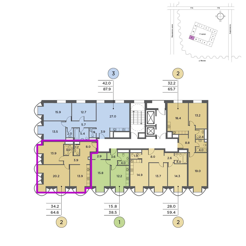 Продаётся 2-комнатная квартира в новостройке 65.2 кв.м. этаж 2/15 за 23 519 150 руб