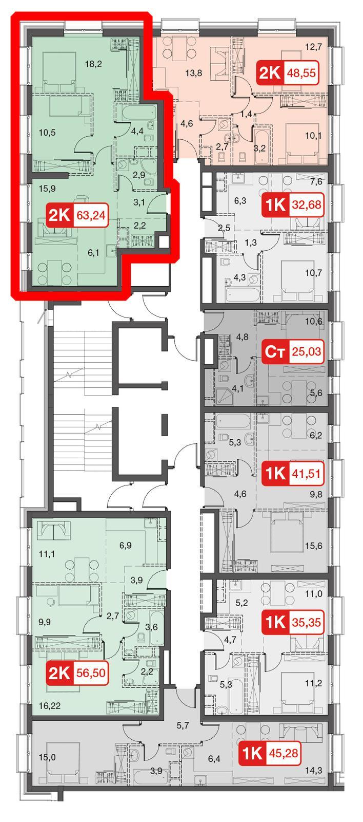 Продаётся 3-комнатная квартира в новостройке 63.3 кв.м. этаж 31/45 за 14 683 280 руб