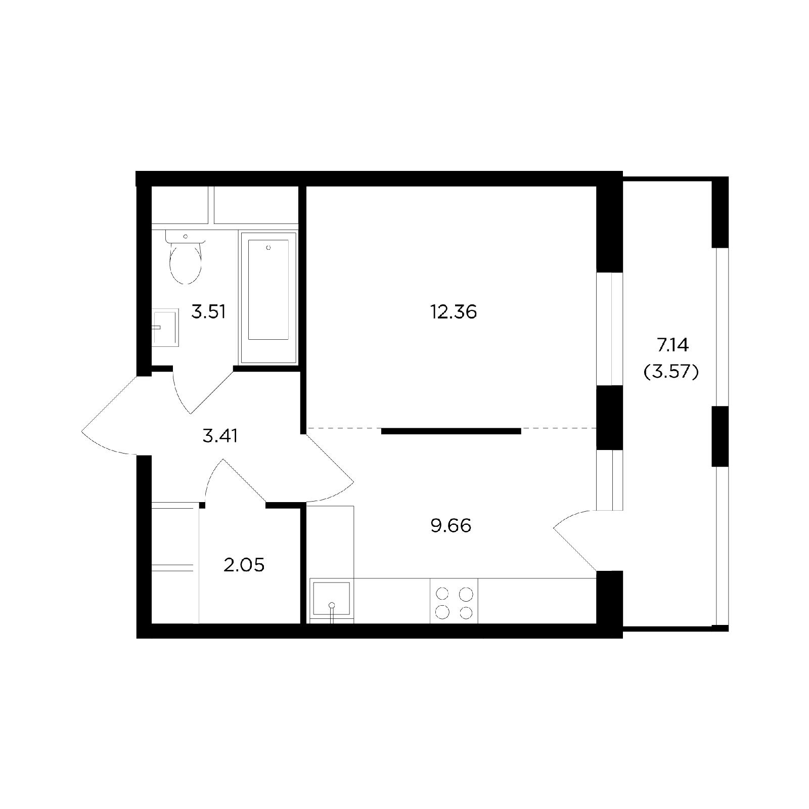 Продаётся 1-комнатная квартира в новостройке 34.4 кв.м. этаж 12/24 за 5 588 811 руб
