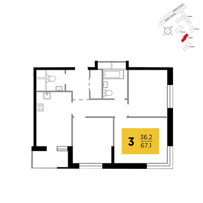 Продаётся 3-комнатная квартира в новостройке 67.1 кв.м. этаж 13/24 за 5 727 075 руб
