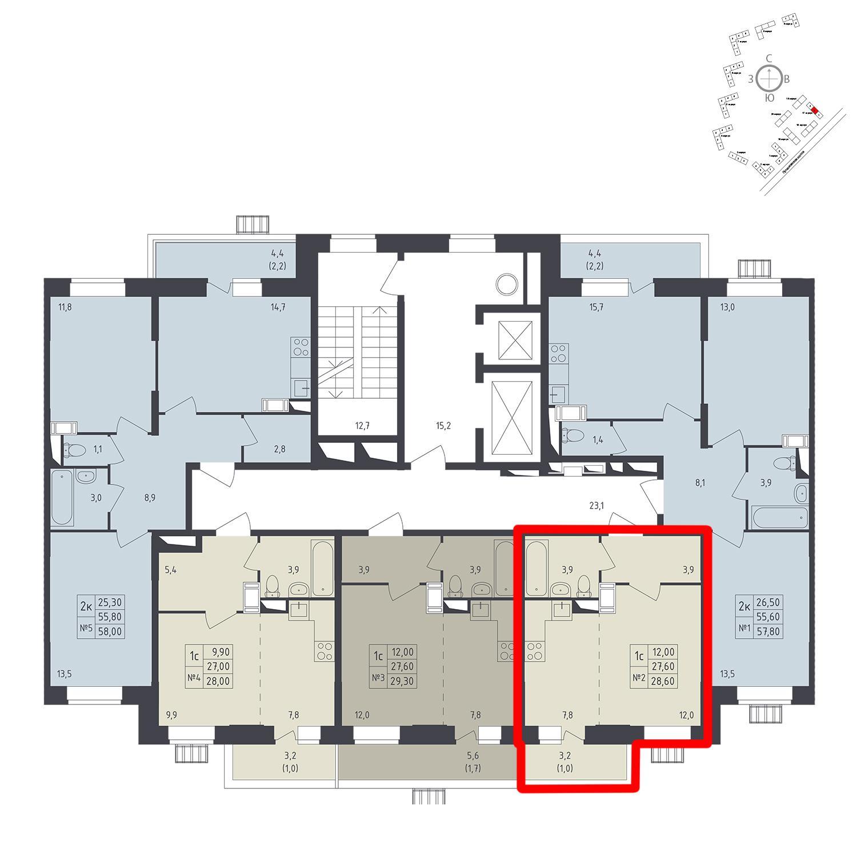 Продаётся 1-комнатная квартира в новостройке 28.6 кв.м. этаж 7/12 за 6 117 140 руб