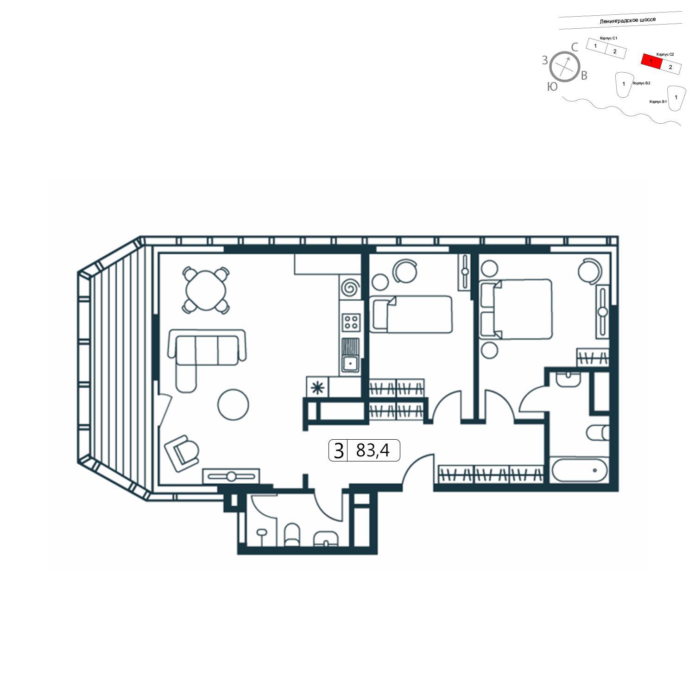 Продаётся 3-комнатная квартира в новостройке 83.0 кв.м. этаж 6/11 за 19 122 979 руб