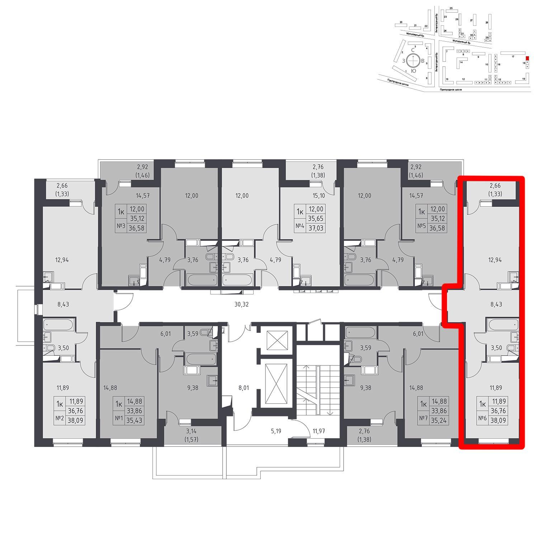Продаётся 1-комнатная квартира в новостройке 38.1 кв.м. этаж 12/17 за 3 708 100 руб
