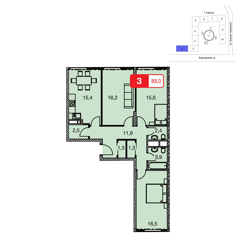 Продаётся 3-комнатная квартира в новостройке 88.0 кв.м. этаж 22/23 за 0 руб