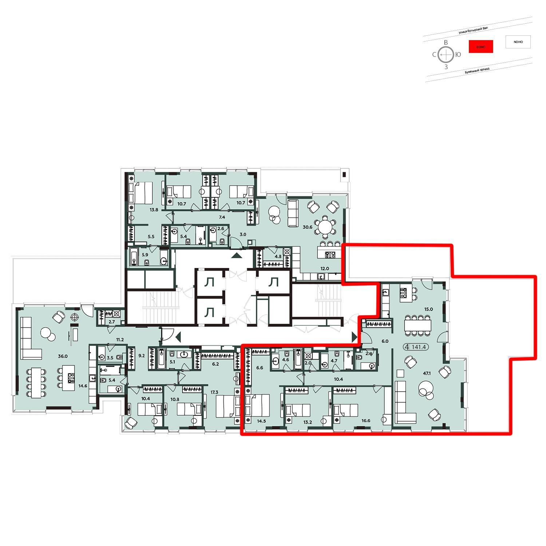 Продаётся 4-комнатная квартира в новостройке 143.5 кв.м. этаж 19/20 за 62 422 500 руб