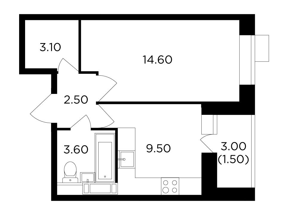 Продаётся 1-комнатная квартира в новостройке 34.8 кв.м. этаж 5/11 за 5 540 333 руб