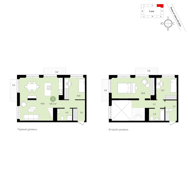 Продаётся 3-комнатная квартира в новостройке 125.7 кв.м. этаж 13/13 за 11 580 000 руб