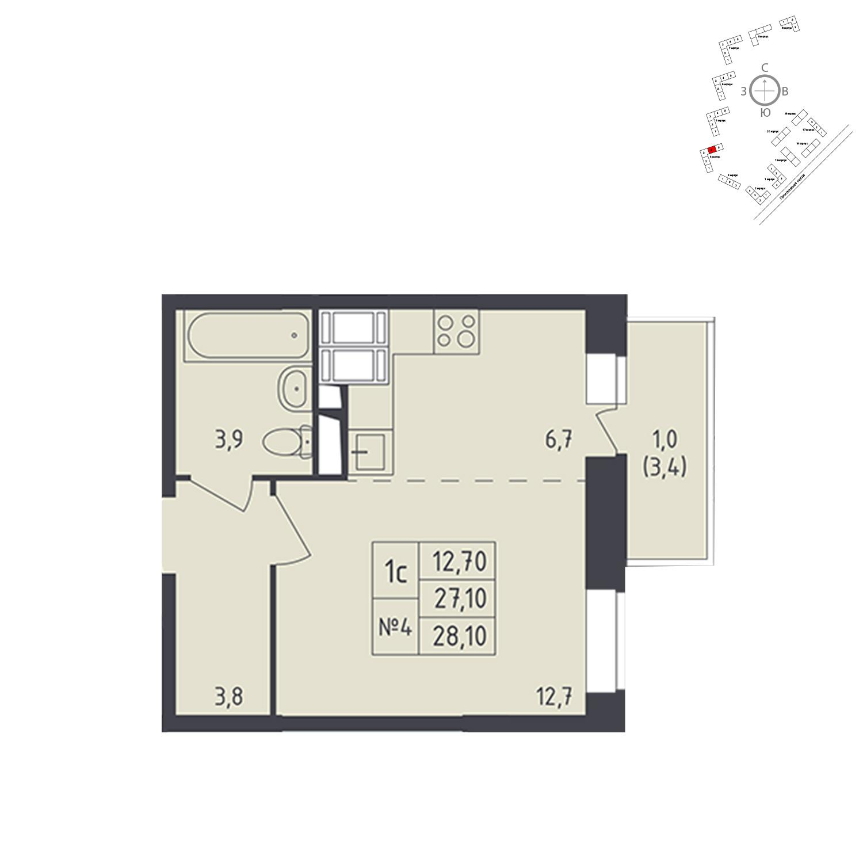 Продаётся 1-комнатная квартира в новостройке 28.1 кв.м. этаж 4/25 за 5 735 547 руб