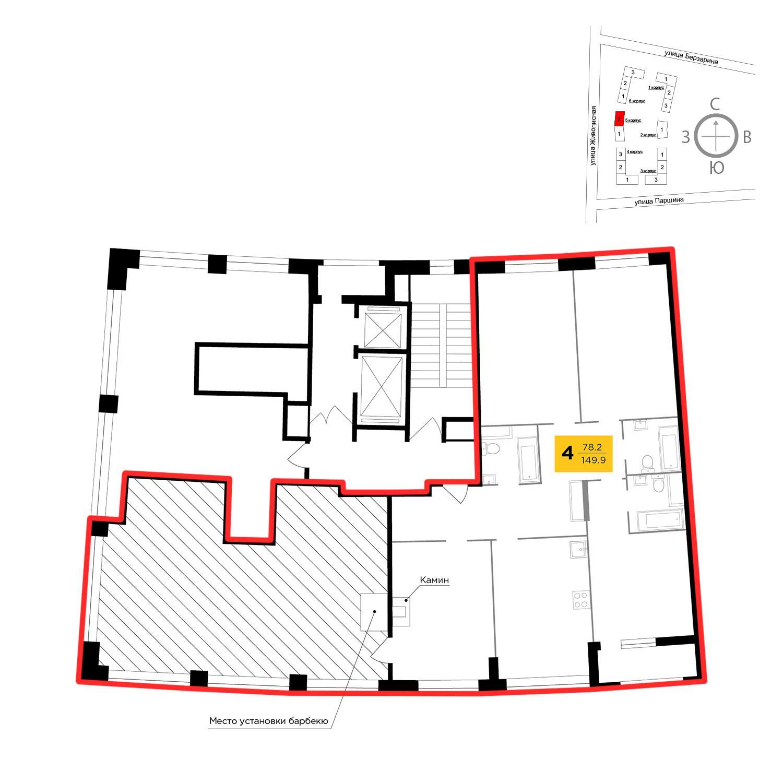 Продаётся 4-комнатная квартира в новостройке 149.9 кв.м. этаж 12/13 за 66 578 237 руб