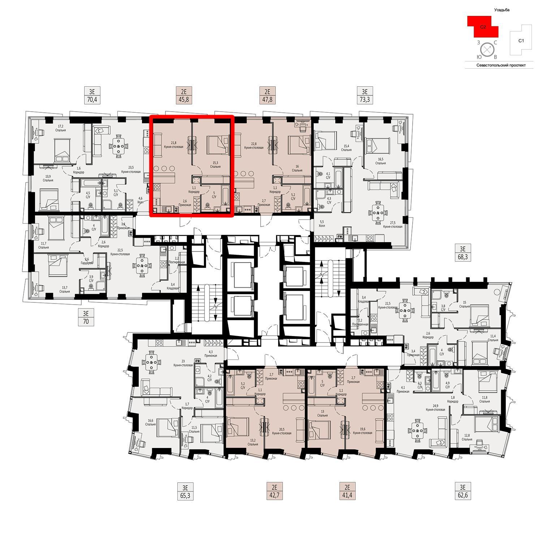 Продаётся  квартира-студия 45.8 кв.м. этаж 8/42 за 17 092 560 руб
