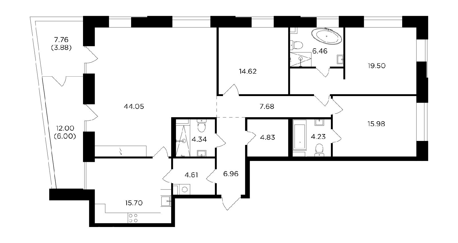Продаётся 4-комнатная квартира в новостройке 158.8 кв.м. этаж 10/19 за 55 939 477 руб