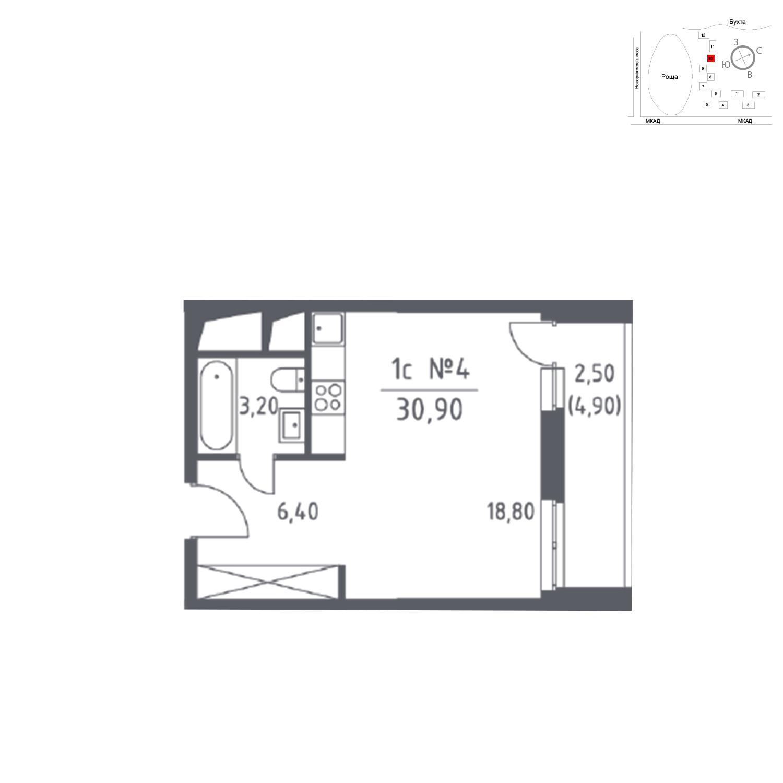 Продаётся  квартира-студия 30.9 кв.м. этаж 10/32 за 7 021 098 руб