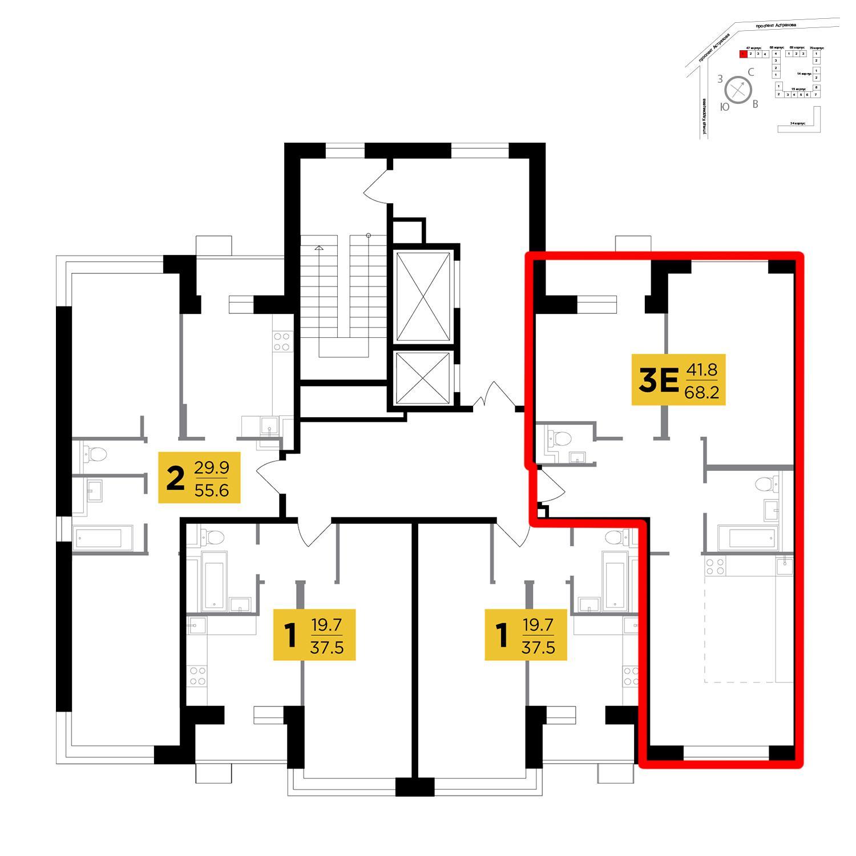 Продаётся 3-комнатная квартира в новостройке 72.0 кв.м. этаж 7/18 за 7 574 400 руб