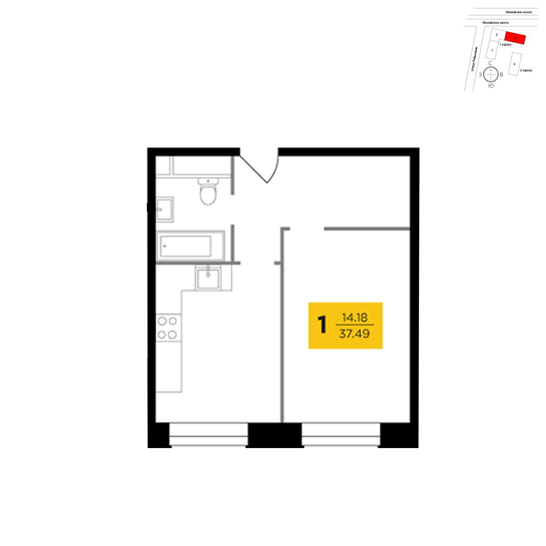 Продаётся 1-комнатная квартира в новостройке 37.5 кв.м. этаж 16/27 за 13 586 950 руб