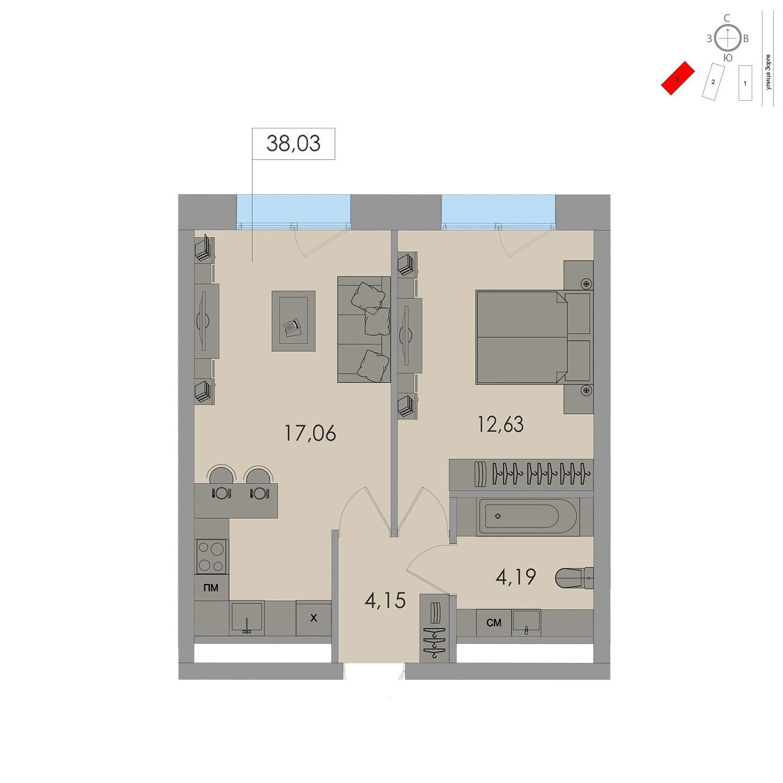 Продаётся 1-комнатная квартира в новостройке 38.0 кв.м. этаж 13/17 за 9 496 000 руб