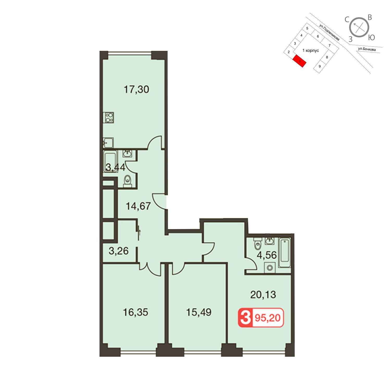 Продаётся 3-комнатная квартира в новостройке 95.2 кв.м. этаж 25/35 за 27 069 440 руб