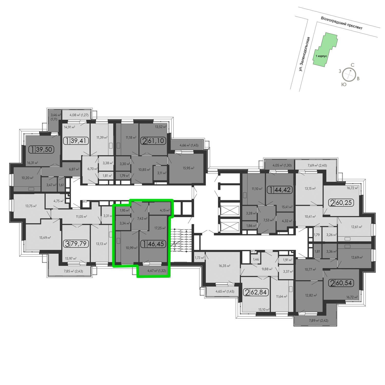 Продаётся 1-комнатная квартира в новостройке 47.6 кв.м. этаж 15/15 за 10 800 660 руб