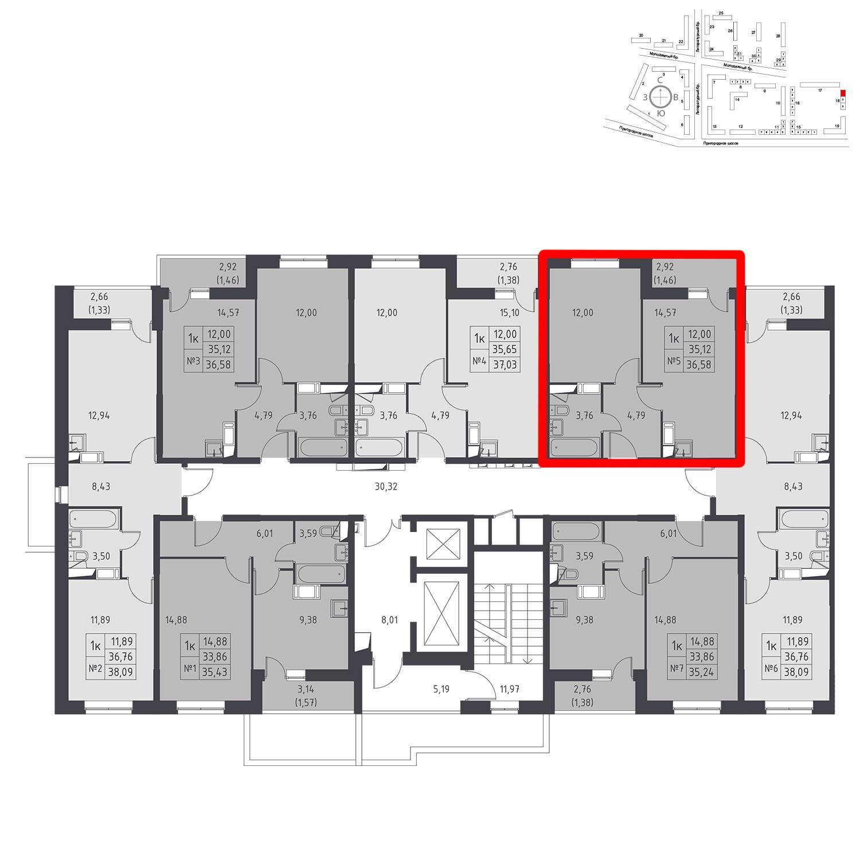 Продаётся 1-комнатная квартира в новостройке 36.6 кв.м. этаж 11/17 за 3 808 088 руб