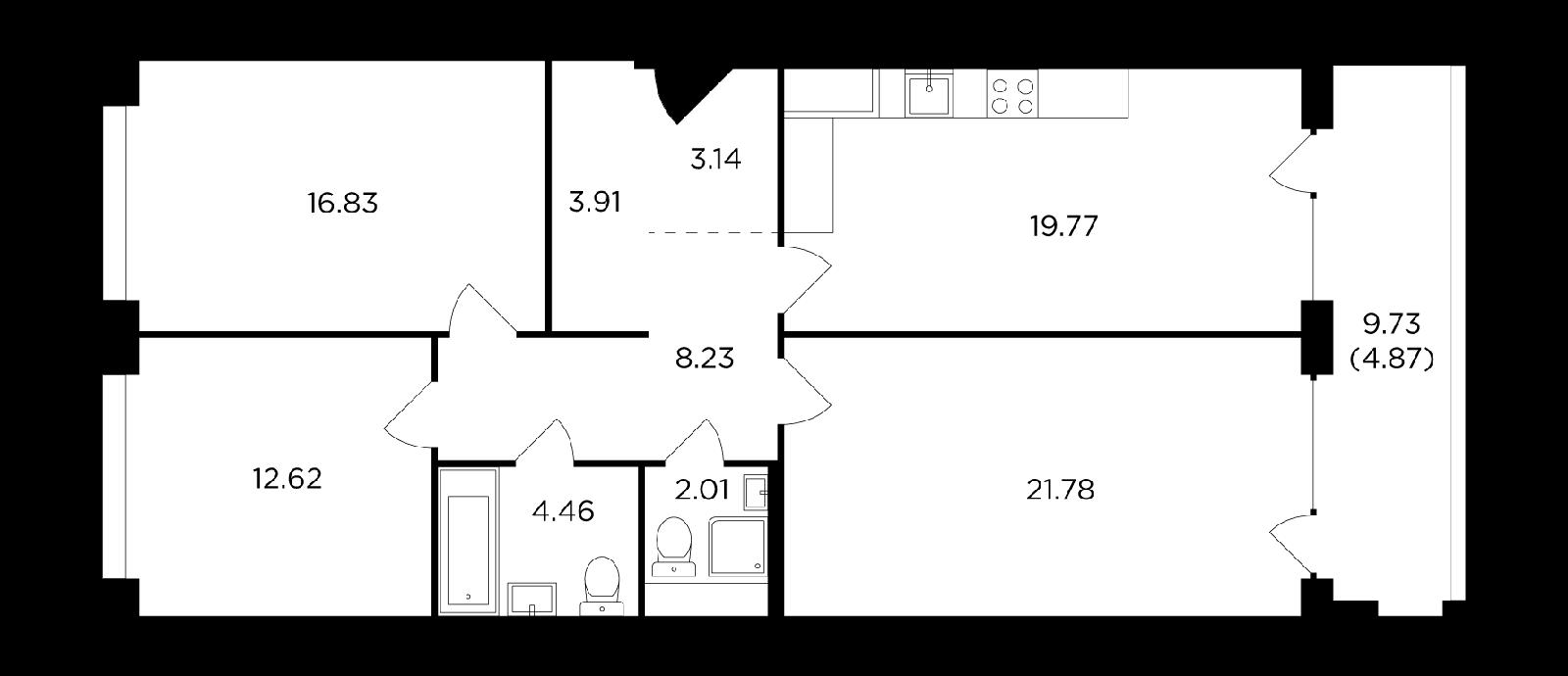 Продаётся 3-комнатная квартира в новостройке 97.6 кв.м. этаж 11/16 за 41 746 119 руб