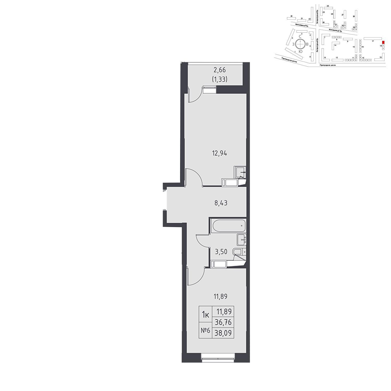 Продаётся 1-комнатная квартира в новостройке 38.1 кв.м. этаж 11/17 за 3 810 866 руб
