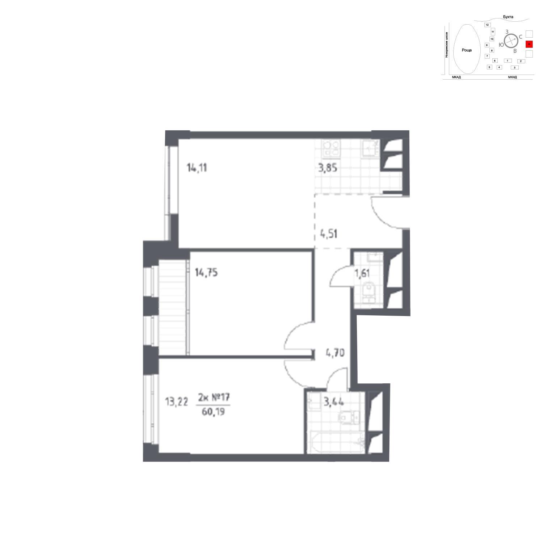 Продаётся 2-комнатная квартира в новостройке 60.2 кв.м. этаж 16/31 за 7 481 978 руб
