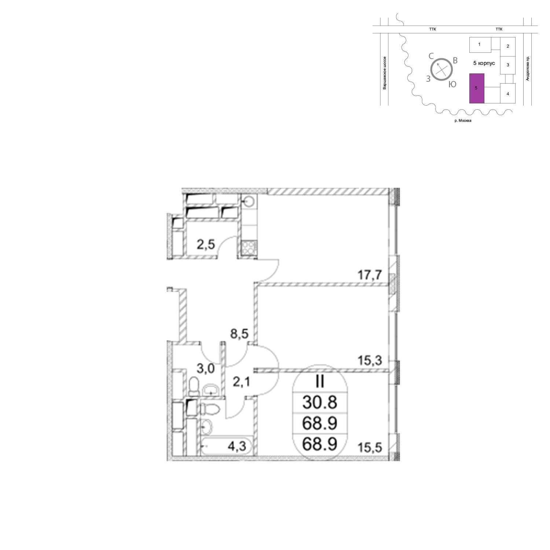 Продаётся 2-комнатная квартира в новостройке 70.1 кв.м. этаж 9/7 за 21 801 100 руб