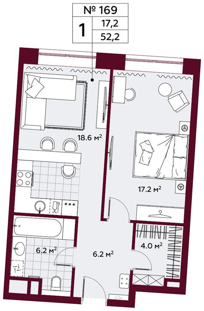 Продаётся 1-комнатная квартира в новостройке 52.2 кв.м. этаж 6/10 за 21 120 120 руб