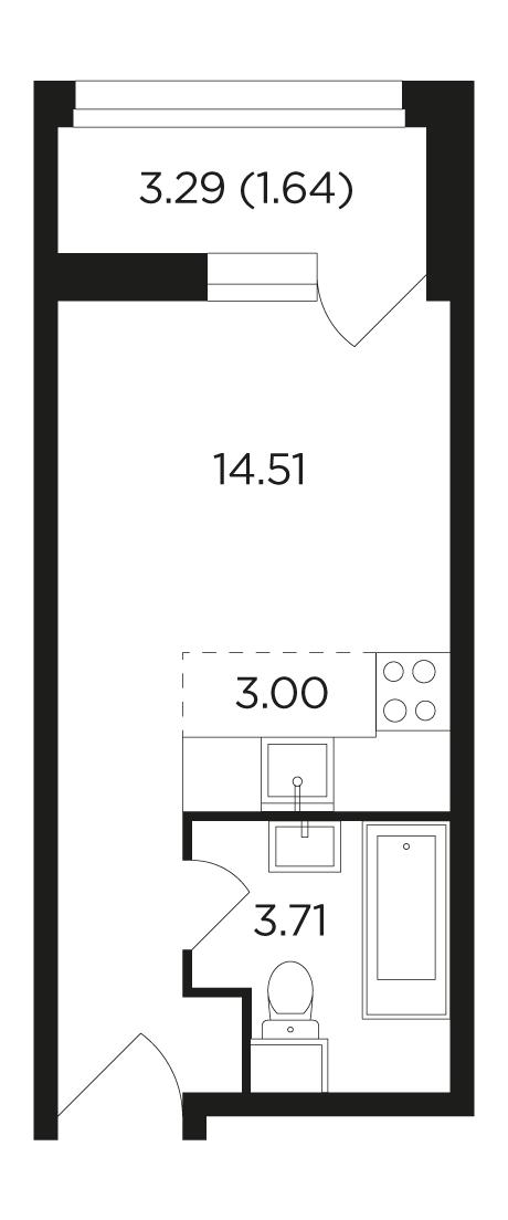 Продаётся  квартира-студия 22.9 кв.м. этаж 25/22 за 9 006 400 руб