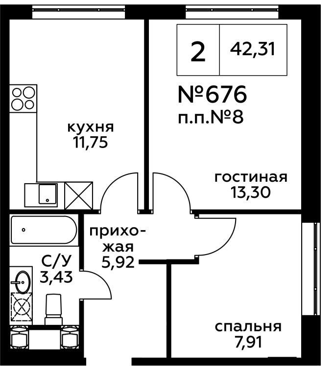 Продаётся 2-комнатная квартира в новостройке 42.3 кв.м. этаж 16/27 за 7 603 107 руб