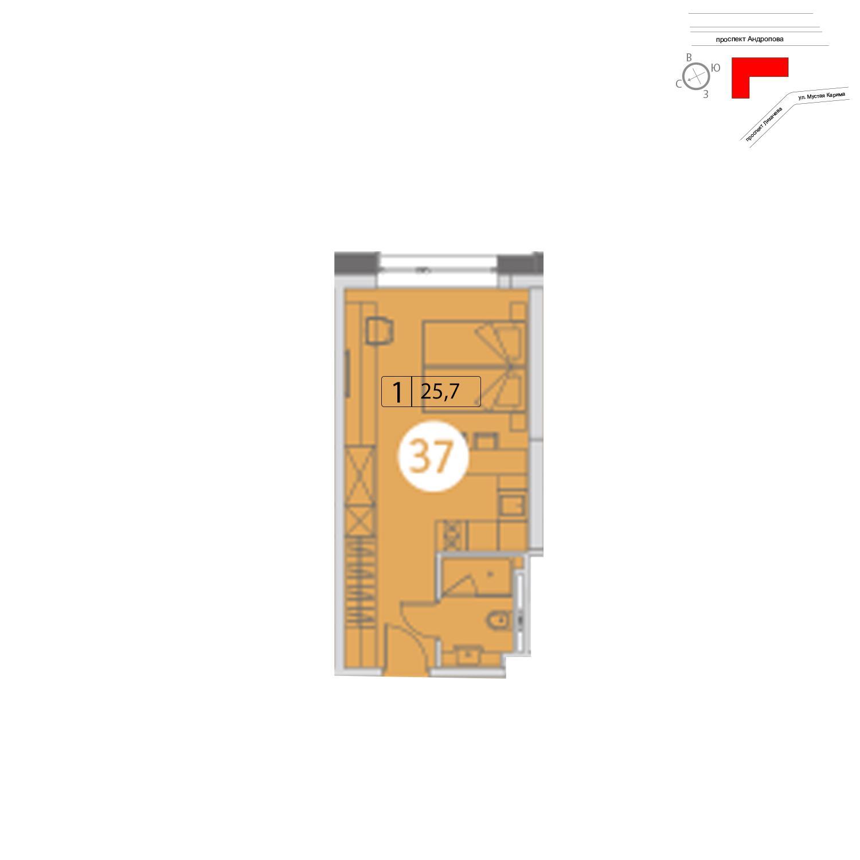 Продаётся  квартира-студия 25.8 кв.м. этаж 21/25 за 7 615 881 руб
