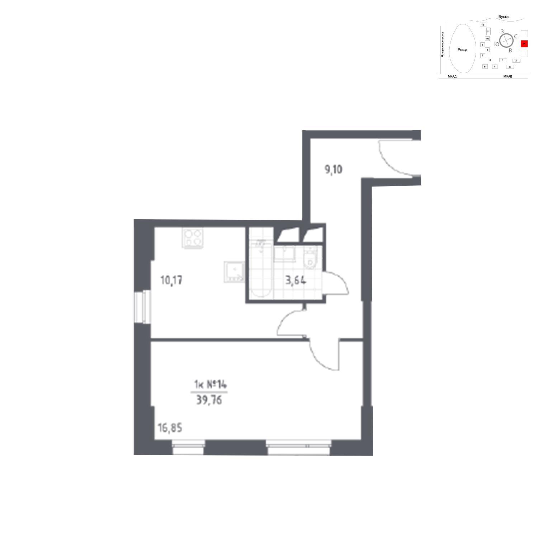 Продаётся 1-комнатная квартира в новостройке 39.8 кв.м. этаж 11/31 за 6 262 319 руб