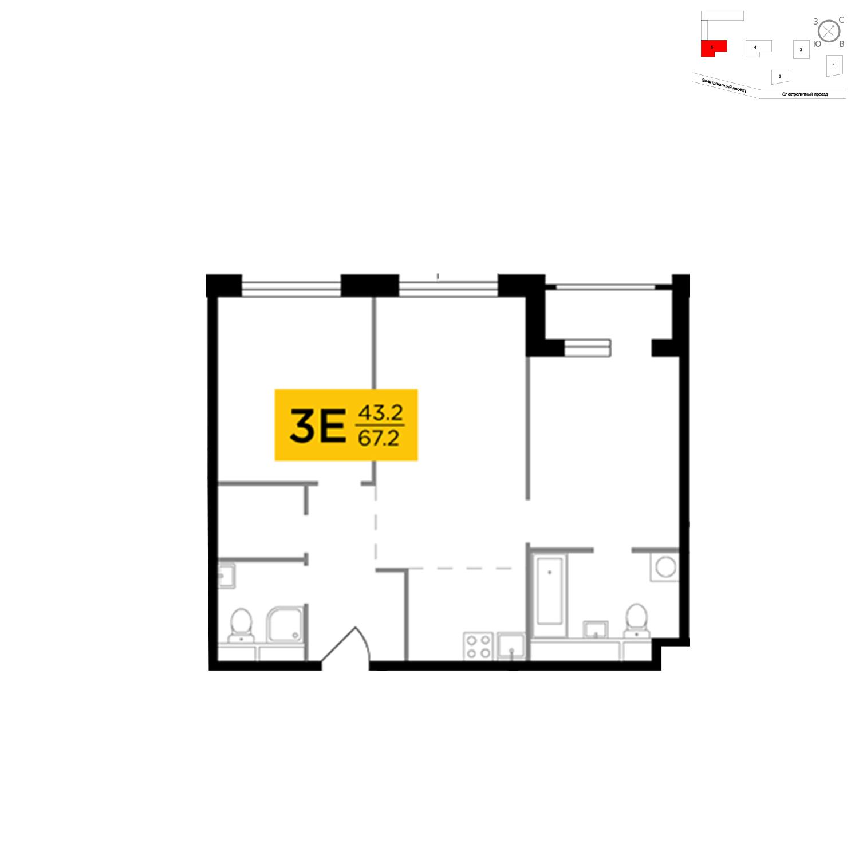 Продаётся 3-комнатная квартира в новостройке 68.5 кв.м. этаж 2/27 за 18 632 380 руб