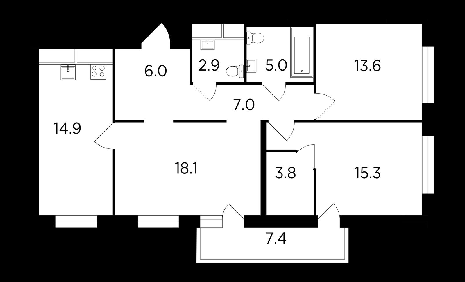 Продаётся 3-комнатная квартира в новостройке 88.9 кв.м. этаж 14/15 за 19 066 337 руб