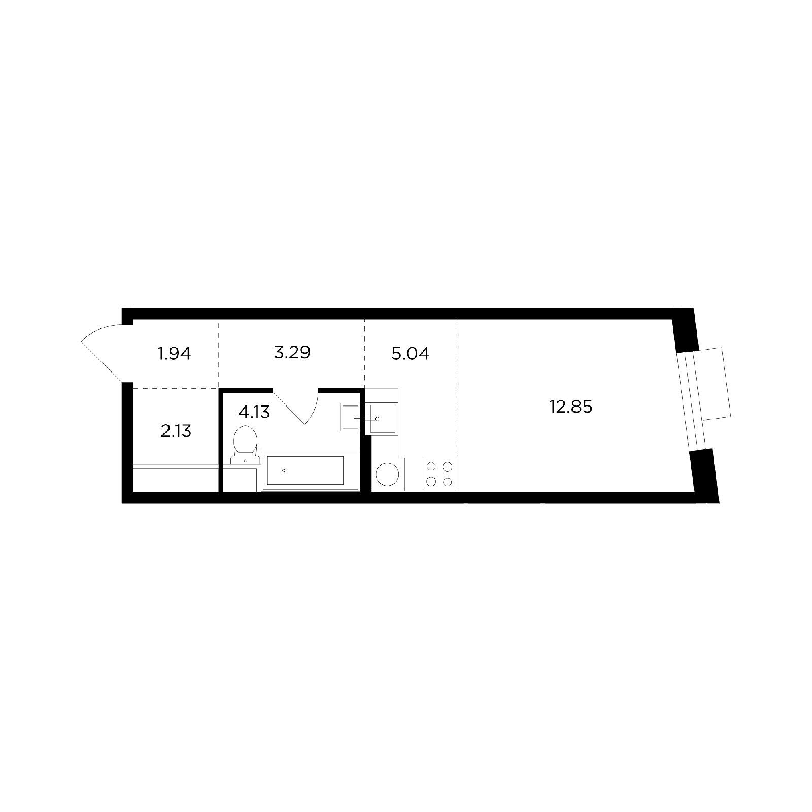 Продаётся  квартира-студия 29.4 кв.м. этаж 19/26 за 9 711 700 руб