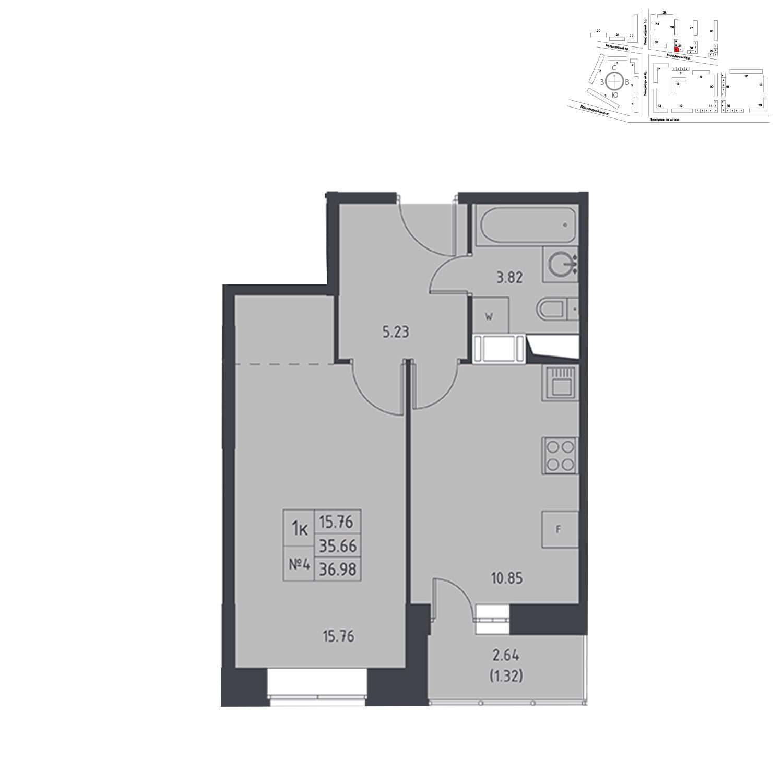 Продаётся 1-комнатная квартира в новостройке 36.2 кв.м. этаж 13/17 за 4 565 508 руб