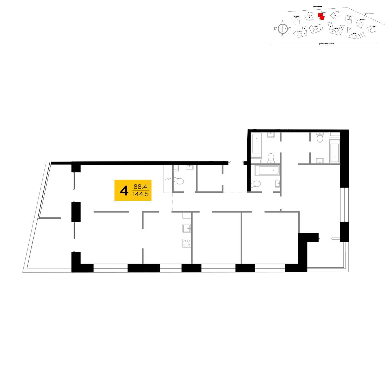 Продаётся 4-комнатная квартира в новостройке 144.5 кв.м. этаж 13/19 за 52 947 966 руб