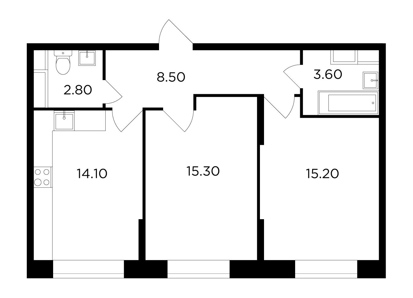 Продаётся 2-комнатная квартира в новостройке 59.5 кв.м. этаж 1/15 за 6 005 005 руб