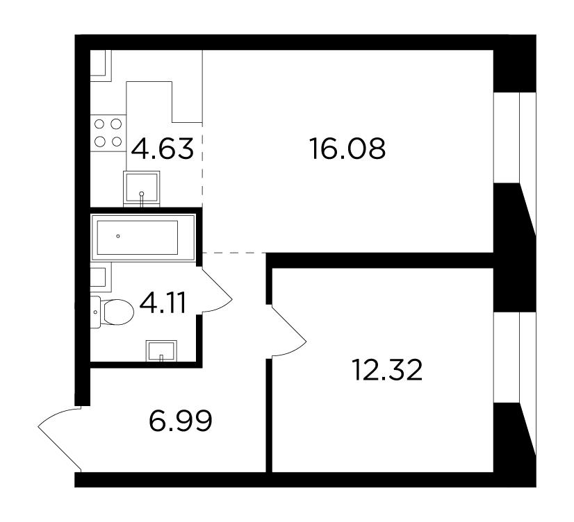 Продаётся 2-комнатная квартира в новостройке 44.1 кв.м. этаж 7/16 за 19 543 764 руб
