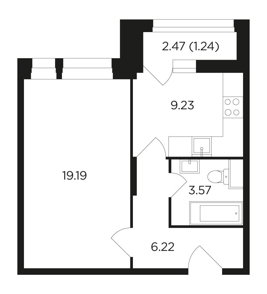 Продаётся 1-комнатная квартира в новостройке 39.5 кв.м. этаж 10/22 за 11 741 494 руб