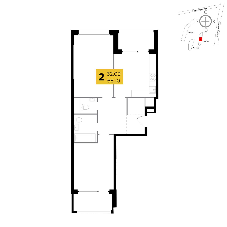 Продаётся 2-комнатная квартира в новостройке 68.1 кв.м. этаж 8/21 за 27 578 631 руб