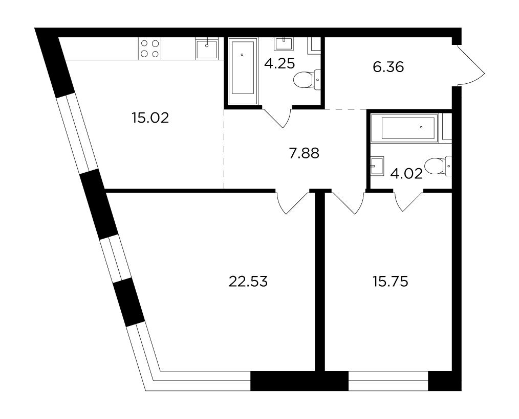 Продаётся 2-комнатная квартира в новостройке 75.8 кв.м. этаж 3/16 за 26 471 734 руб