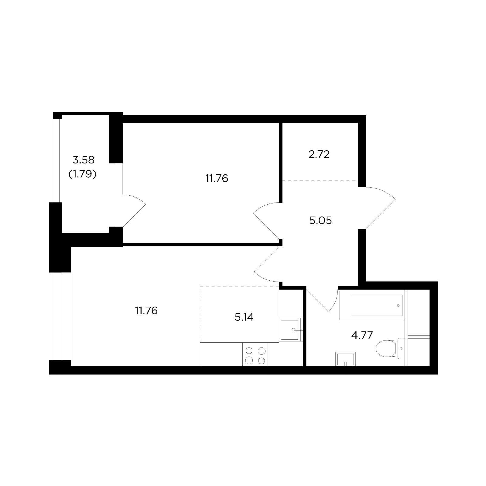 Продаётся 2-комнатная квартира в новостройке 43.0 кв.м. этаж 10/24 за 7 846 307 руб