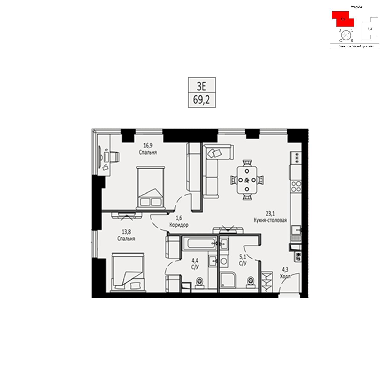 Продаётся  квартира-студия 69.2 кв.м. этаж 3/42 за 21 901 800 руб