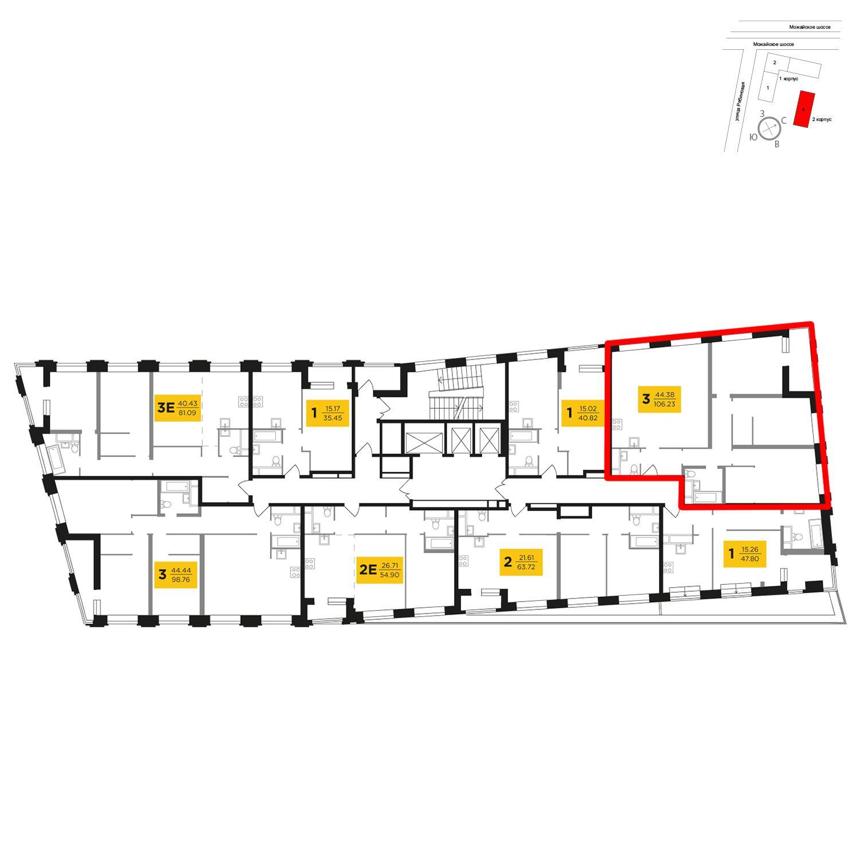 Продаётся 3-комнатная квартира в новостройке 106.1 кв.м. этаж 26/27 за 20 586 387 руб