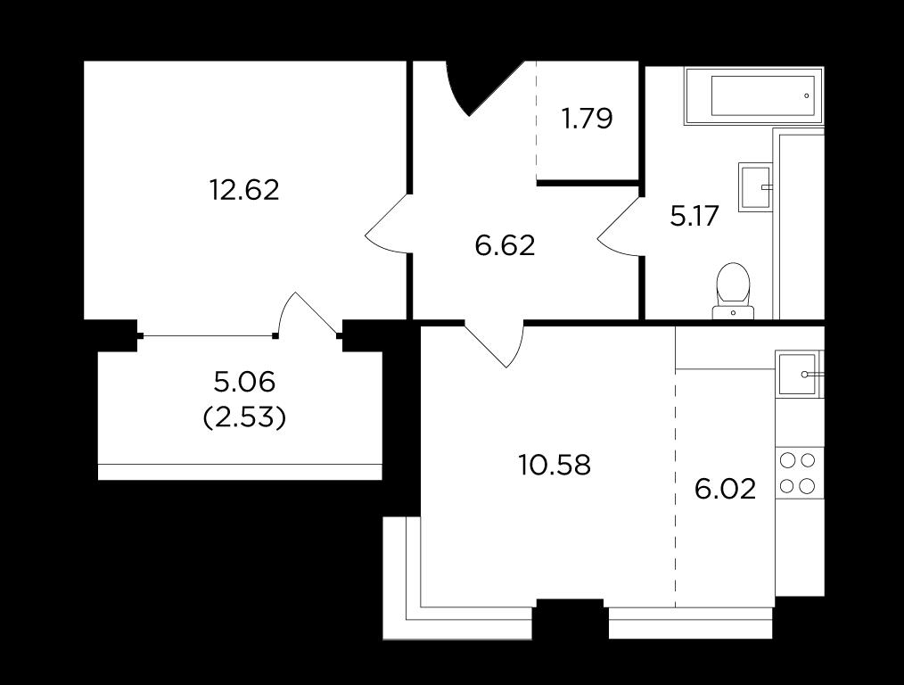 Продаётся 2-комнатная квартира в новостройке 45.3 кв.м. этаж 9/29 за 15 170 228 руб
