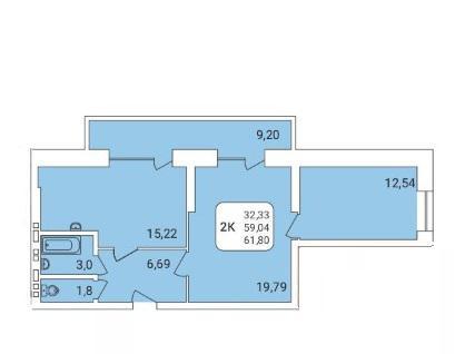 Продаётся 2-комнатная квартира в новостройке 61.8 кв.м. этаж 16/17 за 4 420 000 руб