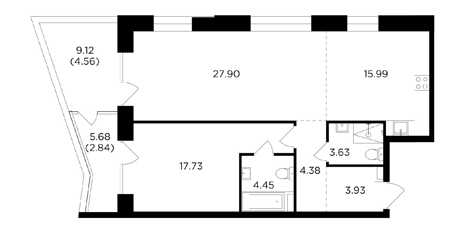Продаётся 2-комнатная квартира в новостройке 85.4 кв.м. этаж 3/19 за 38 035 205 руб