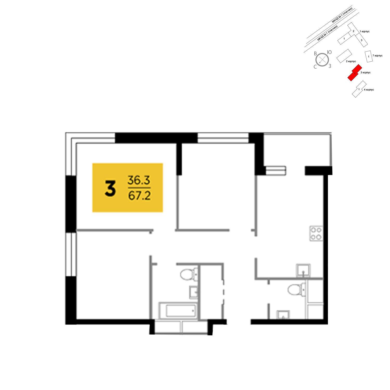 Продаётся 3-комнатная квартира в новостройке 67.2 кв.м. этаж 19/24 за 5 683 528 руб