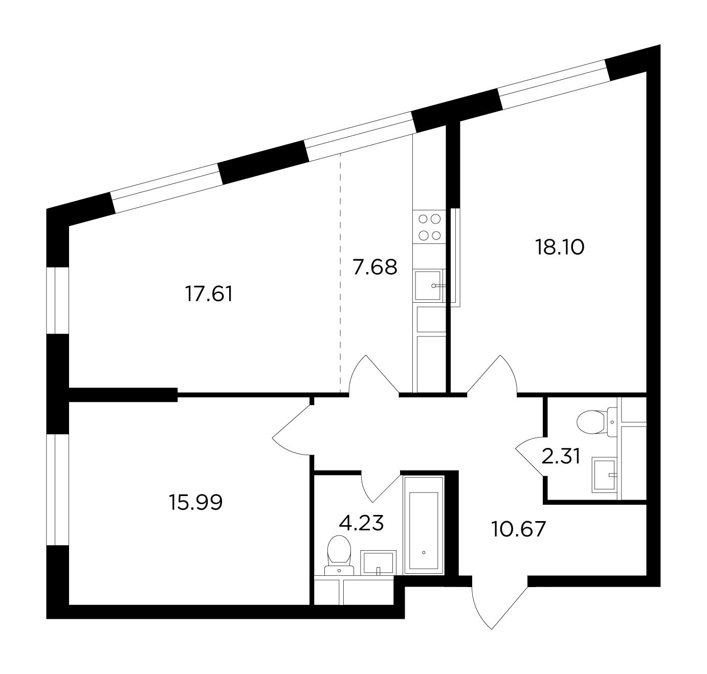 Продаётся 3-комнатная квартира в новостройке 76.6 кв.м. этаж 4/29 за 23 586 758 руб