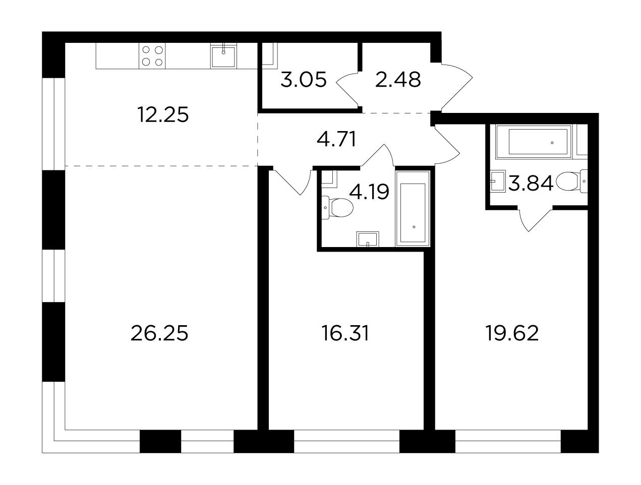 Продаётся 3-комнатная квартира в новостройке 92.7 кв.м. этаж 2/16 за 35 410 473 руб
